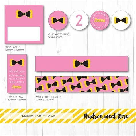 Printable - The 'Emma' Wiggles Birthday Party Pack | Bow