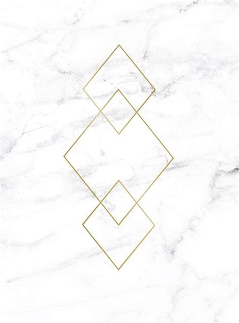 Poster with gold triangles on marble, prints interior design