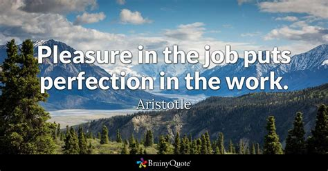 Pleasure in the job puts perfection in the work