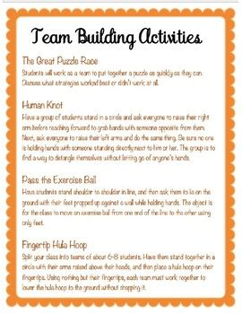 Team Building Activities by CnM FirstDayPreparation | TpT