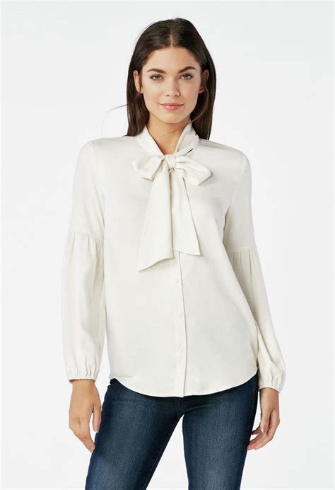 Bow Tie Blouse in WINTER WHITE - Get great deals at JustFab