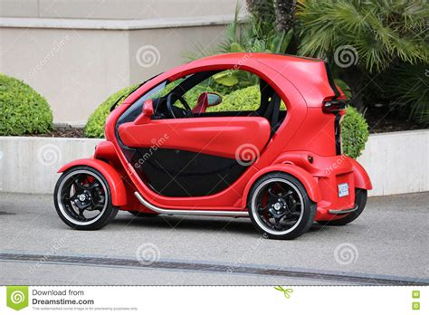 Red And Black Electric Car Renault Twizy In Monte-Carlo